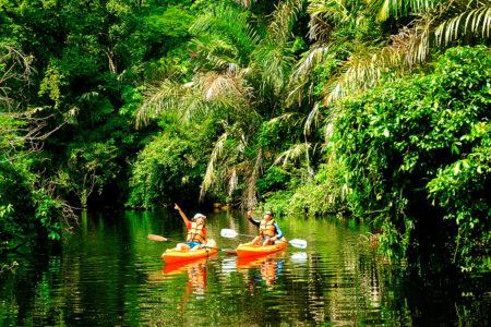 kayaking in tortuguero national park at tortuga lodge costa rica