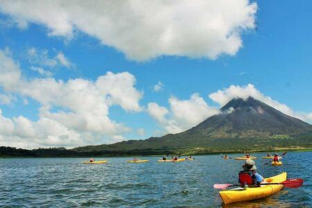 kayaking on lake arenal at lost iguana hotel costa rica