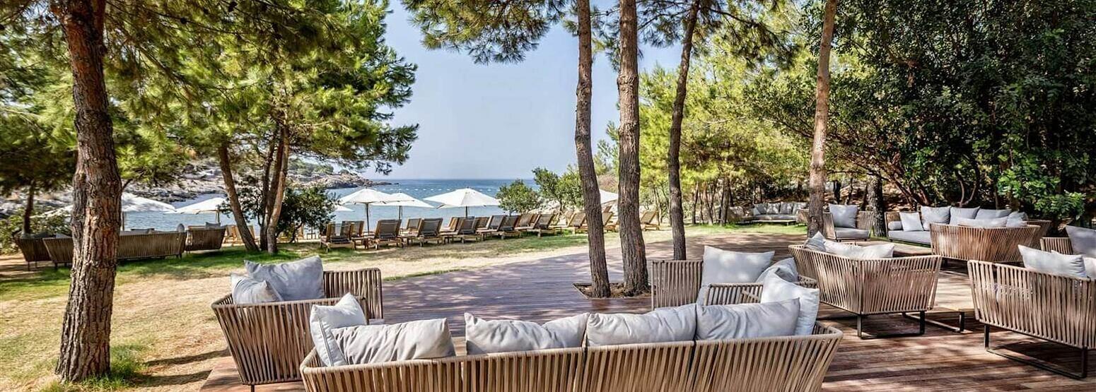 kucuk beach lounge at Six Senses Kaplankaya resort turkey