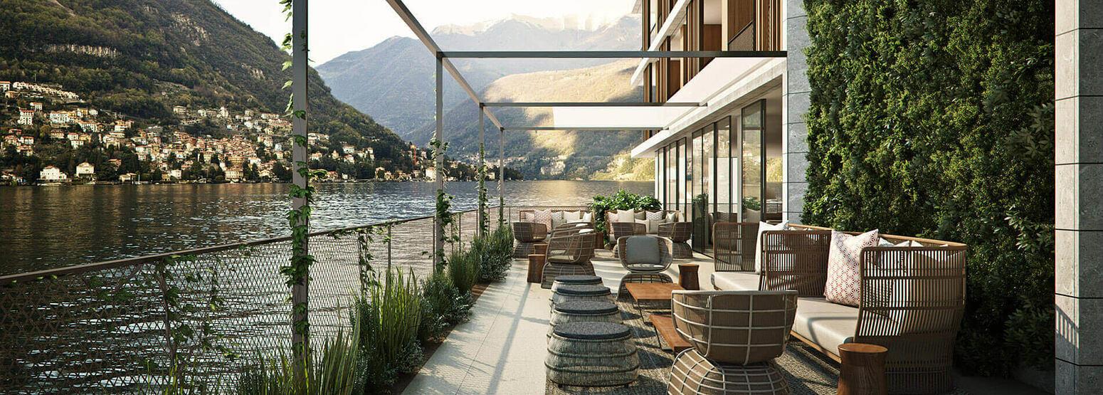 lakeside terrace at il sereno hotel italy