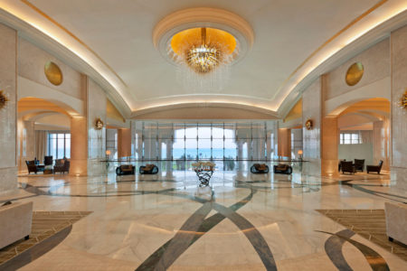 lobby at the st regis island resort abu dhabi