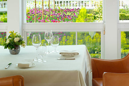 views from the restaurant at coworth park england uk