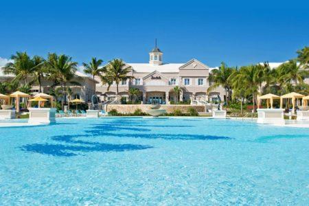 main swimming pool at sandals emerald bay resort bahamas