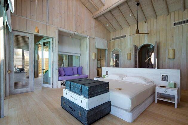 master bedroom at soneva jani beach resort