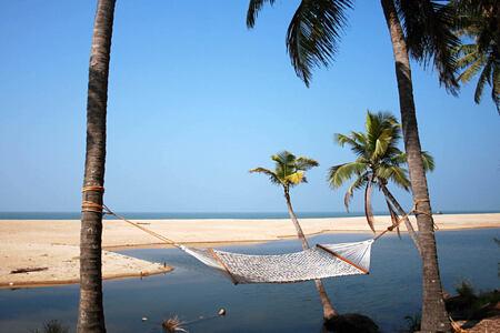 hammock on beach at Neeleshwar hotel