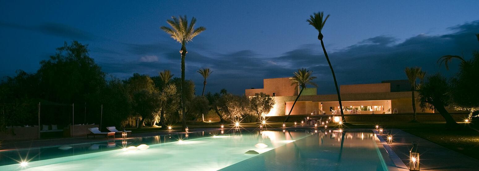 night time exterior at dar sabra hotel marrakech