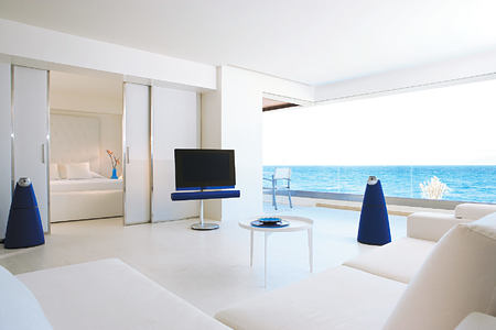 one Bedroom Grand Suite, living area and lounges at Amirandes Crete