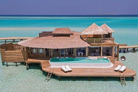 overwater villa at soneva jani beach resort