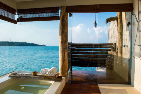 overwater villa interior at song saa resort cambodia