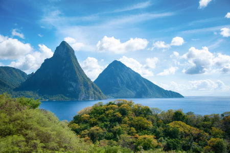 panorama of pitons in st lucia at rendezvous resort st lucia caribbean