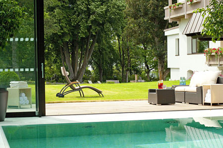 pool and gardens at parkhotel igls hotel austria