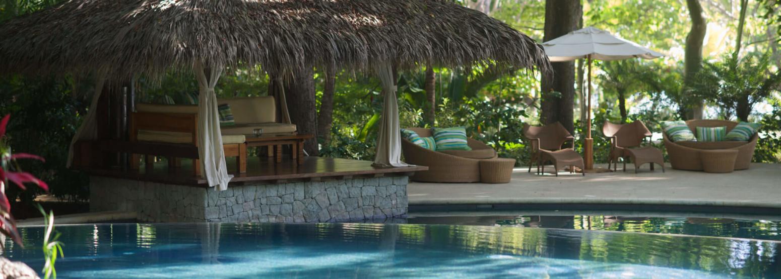 pool and palapa at flor blanca resort costa rica