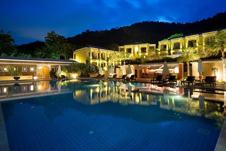 pool and resort at night at absolute sanctuary resort thailand
