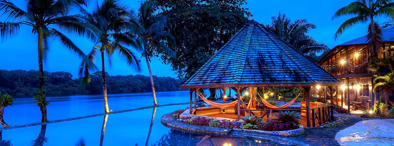 pool at dusk at tortuga lodge costa rica