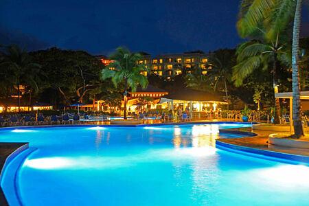 pool at night at st james morgan bay resort caribbean