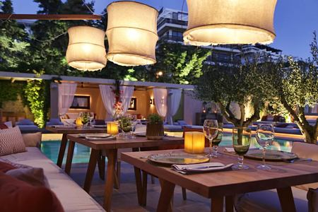poolside dining terrace at The Margi hotel