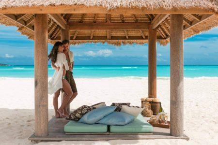 private beach cabanas at sandals emerald bay resort bahamas