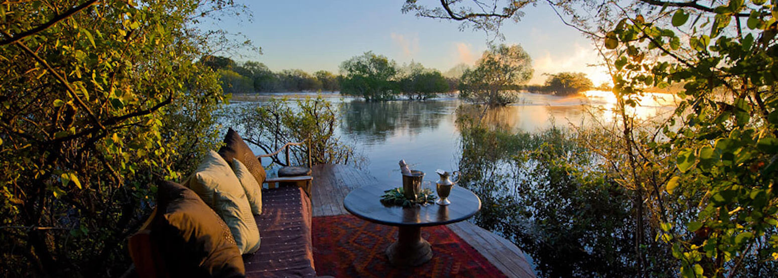 private deck for an evening drink at tongabezi hotel zambia