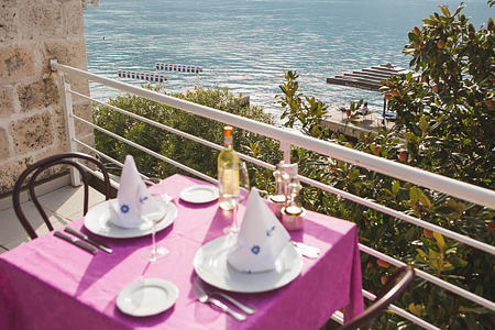 private dining terrace at palazzo radomiri hotel montenegro