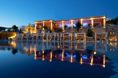 restaurant overlooking the pool at Mykonos Grand