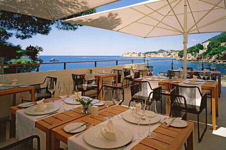 restaurant terrace at sunrise at villa dubrovnik croatia