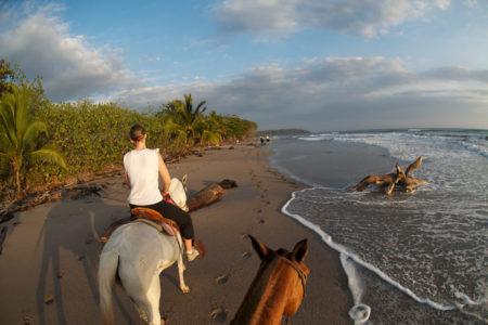 riding along the beach at flor blanca resort costa rica