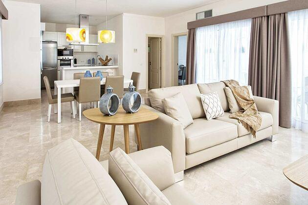 royal villa open plan interior at Bahiazul Villas and Club