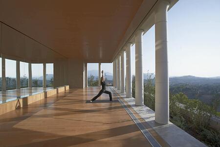 spa yoga pavilion at amanzoe in greece
