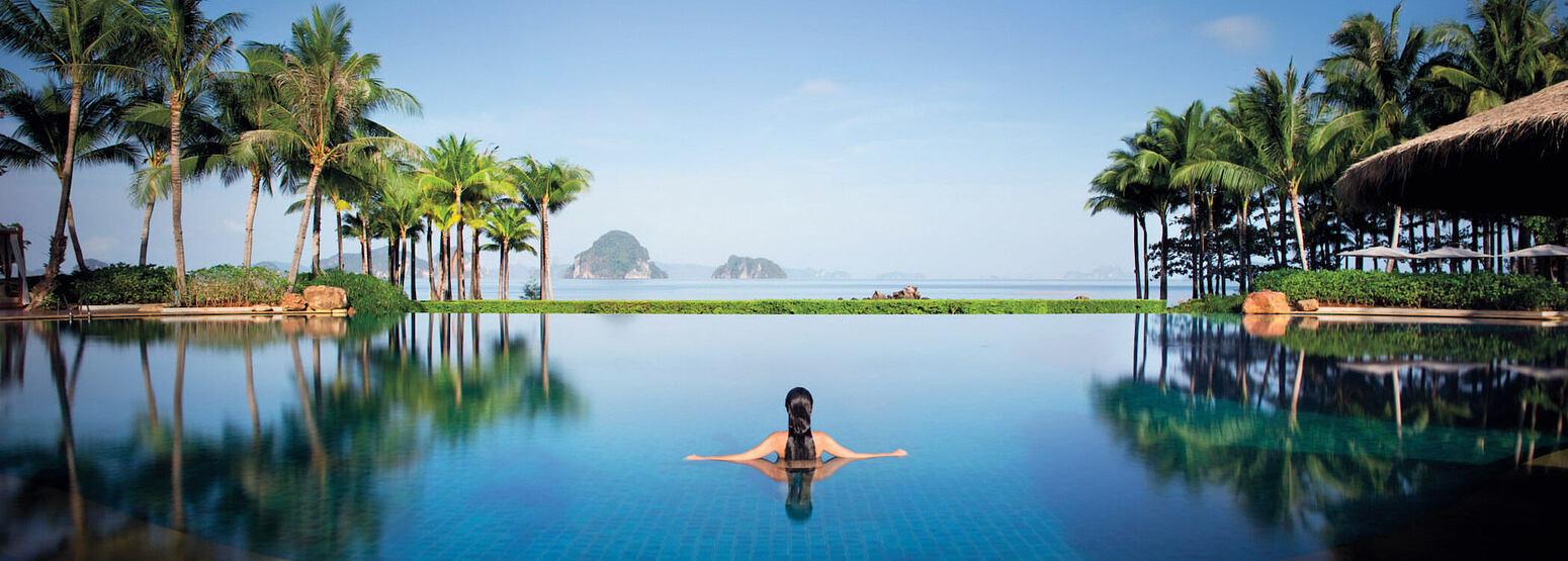 swimming pool and fabulous views at phulay bay krabi resort thailand