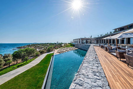 swimming pool and gardens at Six Senses Kaplankaya resort turkey