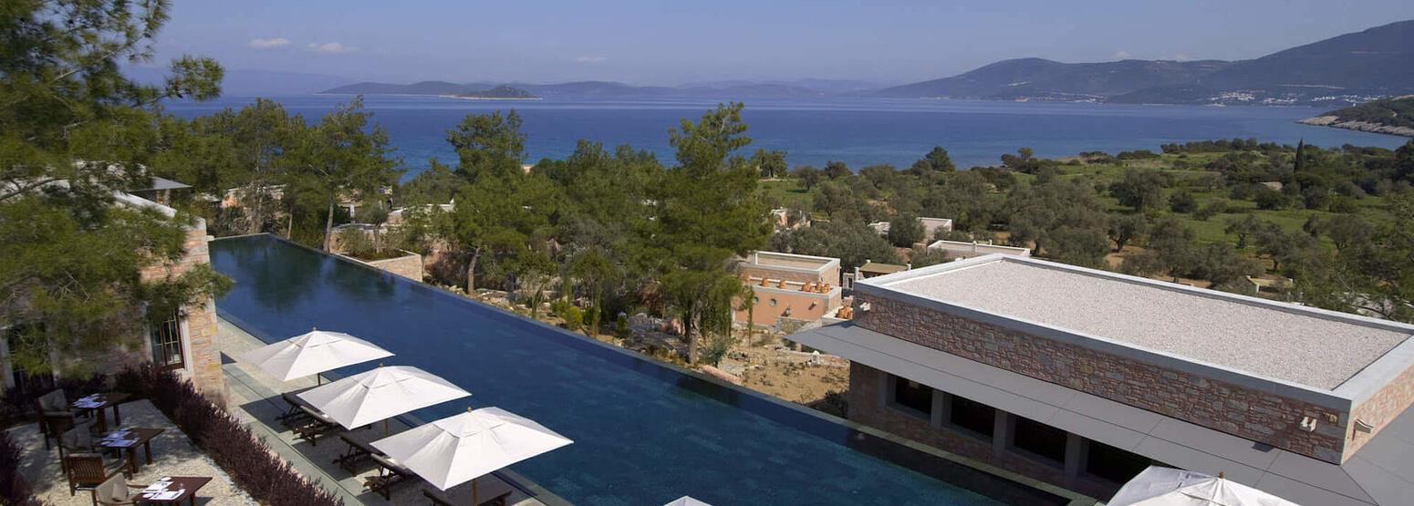 swimming pool and sea view at amanruya hotel turkey