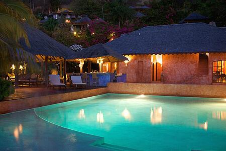 swimming pool at night at laluna hotel caribbean