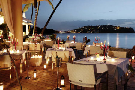 the terrace restaurant at rendezvous resort st lucia caribbean