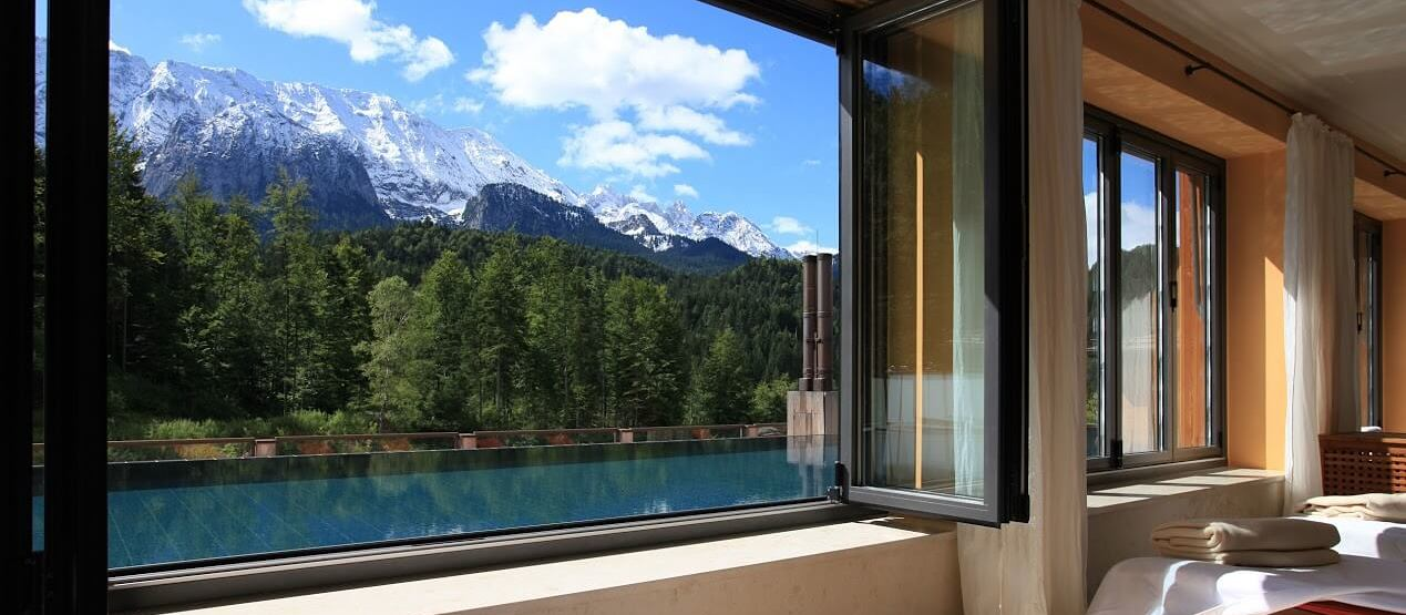 view from the spa at Schloss Elmau