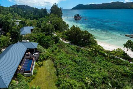 Aerial of villas at Raffles Praslin Seychelles