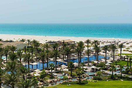 Aerial view across complex towards sea at the Park Hyatt Abu Dhabi