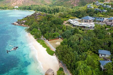 Aerial view of Raffles Praslin Seychelles