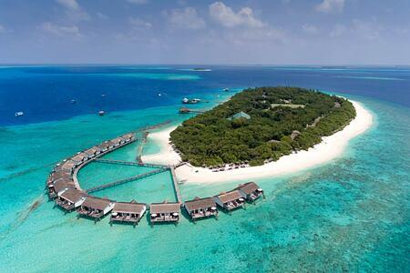 Aerial view of island at reethi beach resort maldives
