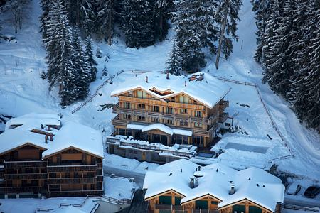 Aerial winter view of The Lodge Switzerland