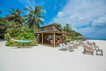 Beach bar at reethi beach resort maldives