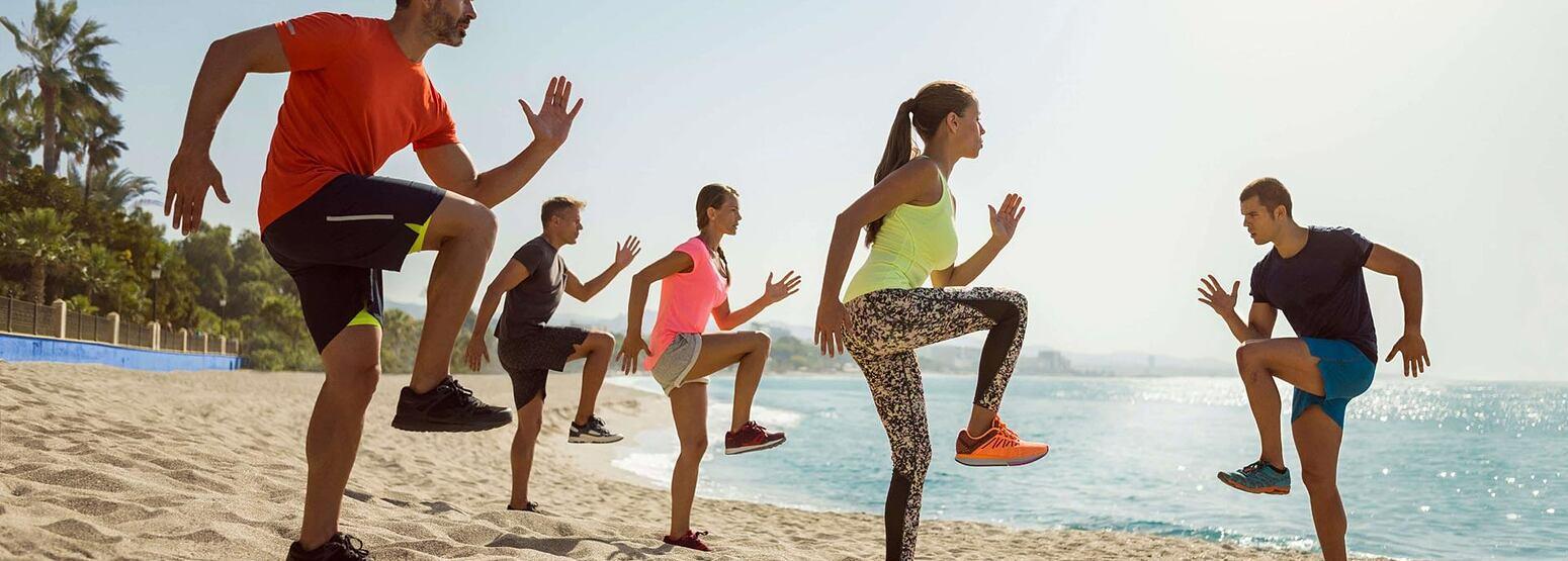 Beach exercise at Marbella Beach Club Spain