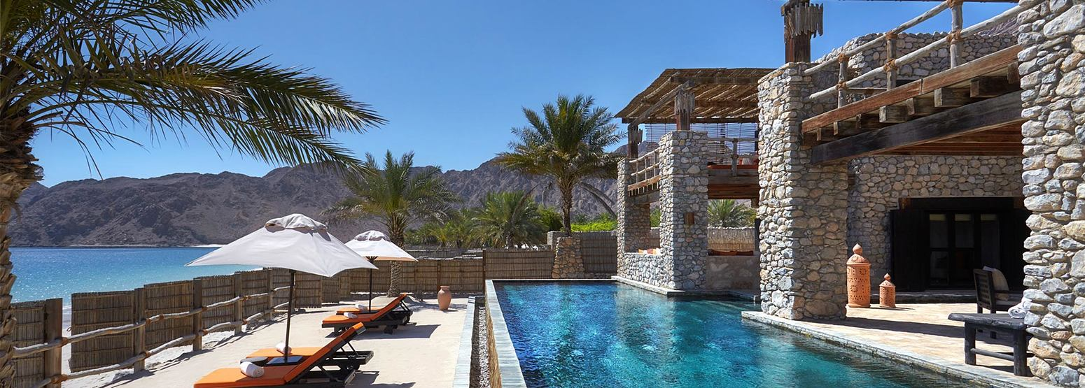 Beachfront Retreat exterior at Six Senses Zighy Bay Oman