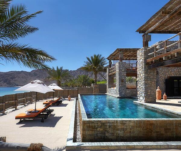 Beachfront Retreat exterior at Six Senses Zighy Bay Oman