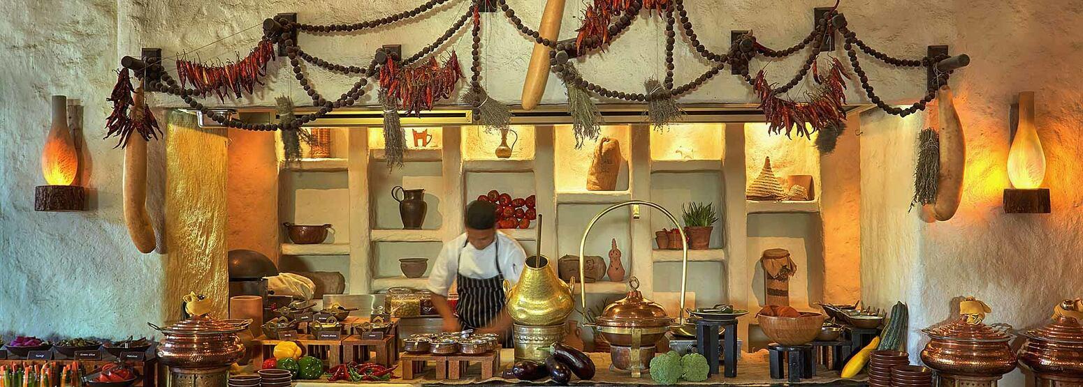 Breakfast buffet at Six Senses Zighy Bay Oman