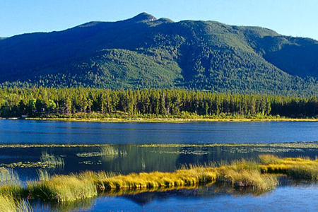 View across lakes and mountains in British Columbia Canada