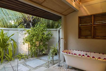 Cottage Outdoor Bathroom at Denis Private Island Seychelles