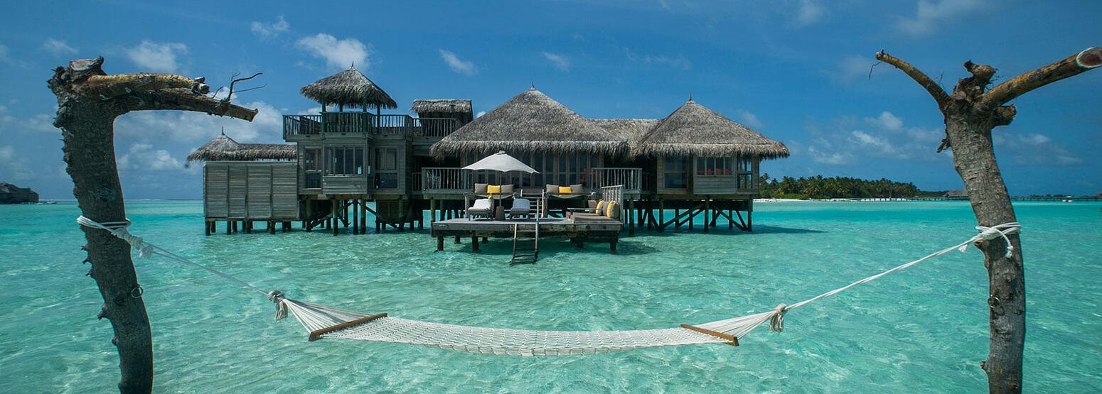 Crusoe Residence View from Hammock at Gili Lankanfushi Maldives