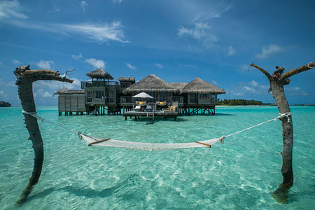 Crusoe Residence View from Hammock at Gili Lankanfushi Maldives