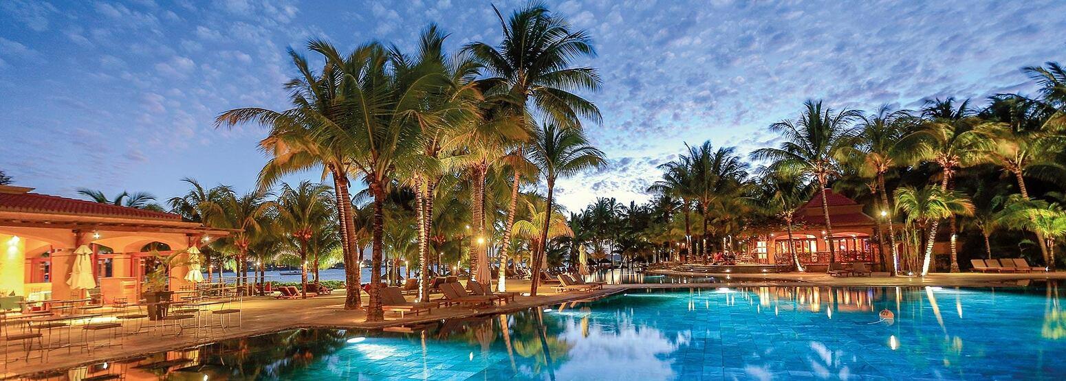 Dusk across the pool at Le Mauricia Mauritius