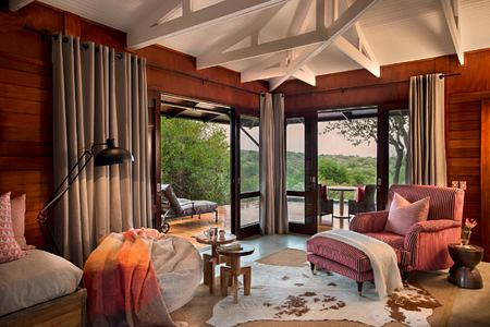Ecca Lodge suite lounge at Kwandwe South Africa